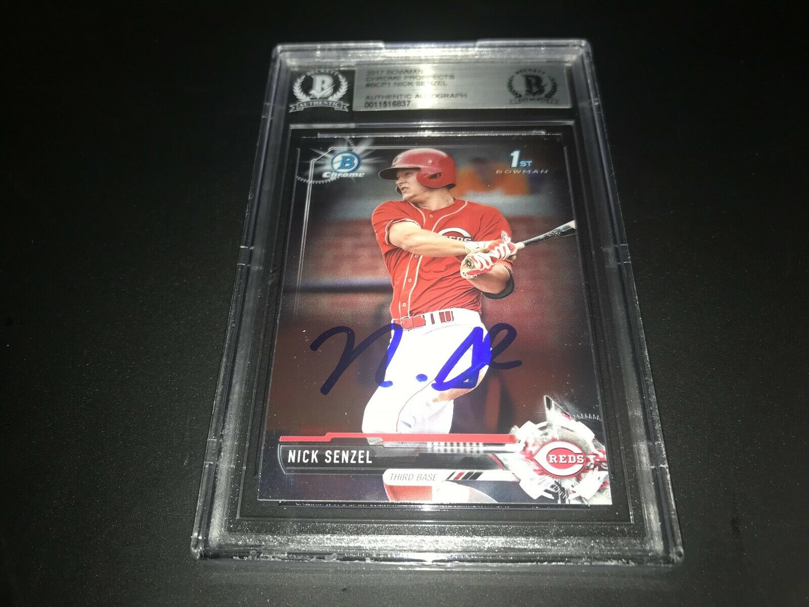 Nick Senzel Cincinnati Reds SIGNED 2017 BOWMAN CHROME BECKETT CERTIFIED 4