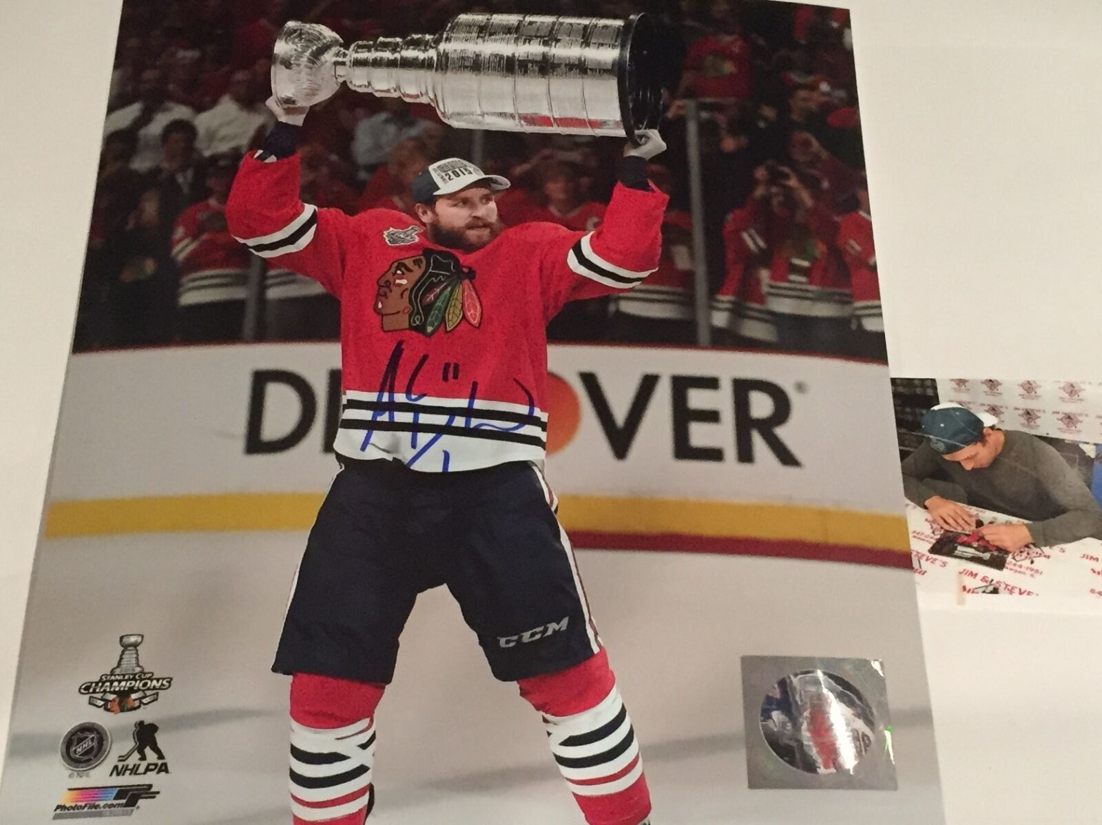 Andrew Desjardins Chicago Blackhawks Signed Stanley Cup 8x10 Champs S