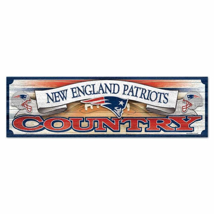 "New England Patriots Country NFL 9""x30"" Wood Sign"