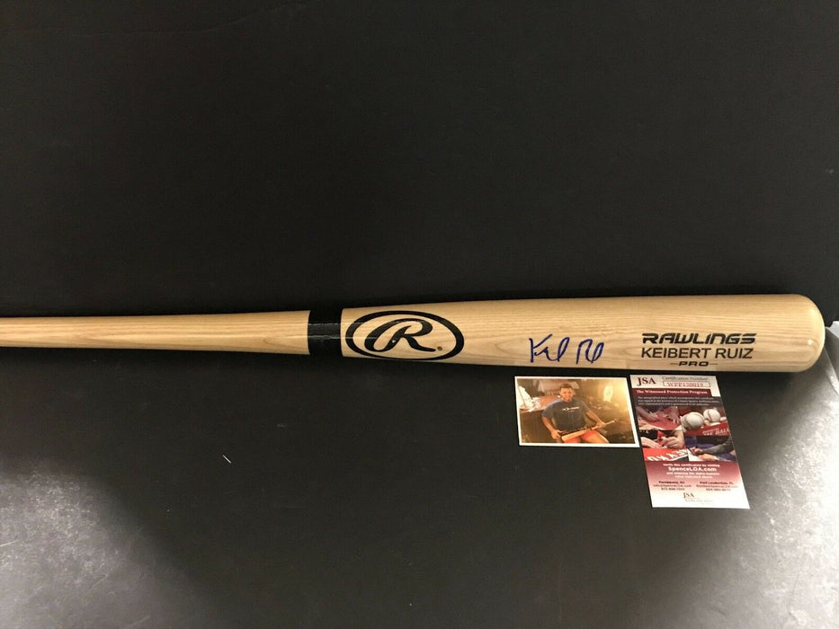 Keibert Ruiz Los Angeles Dodgers Signed Engraved Bat JSA WITNESS COA Blonde 1