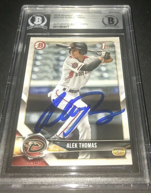 Alek Thomas Diamondbacks SIGNED 2018 BOWMAN BASE DRAFT BECKETT CERTIFIED c