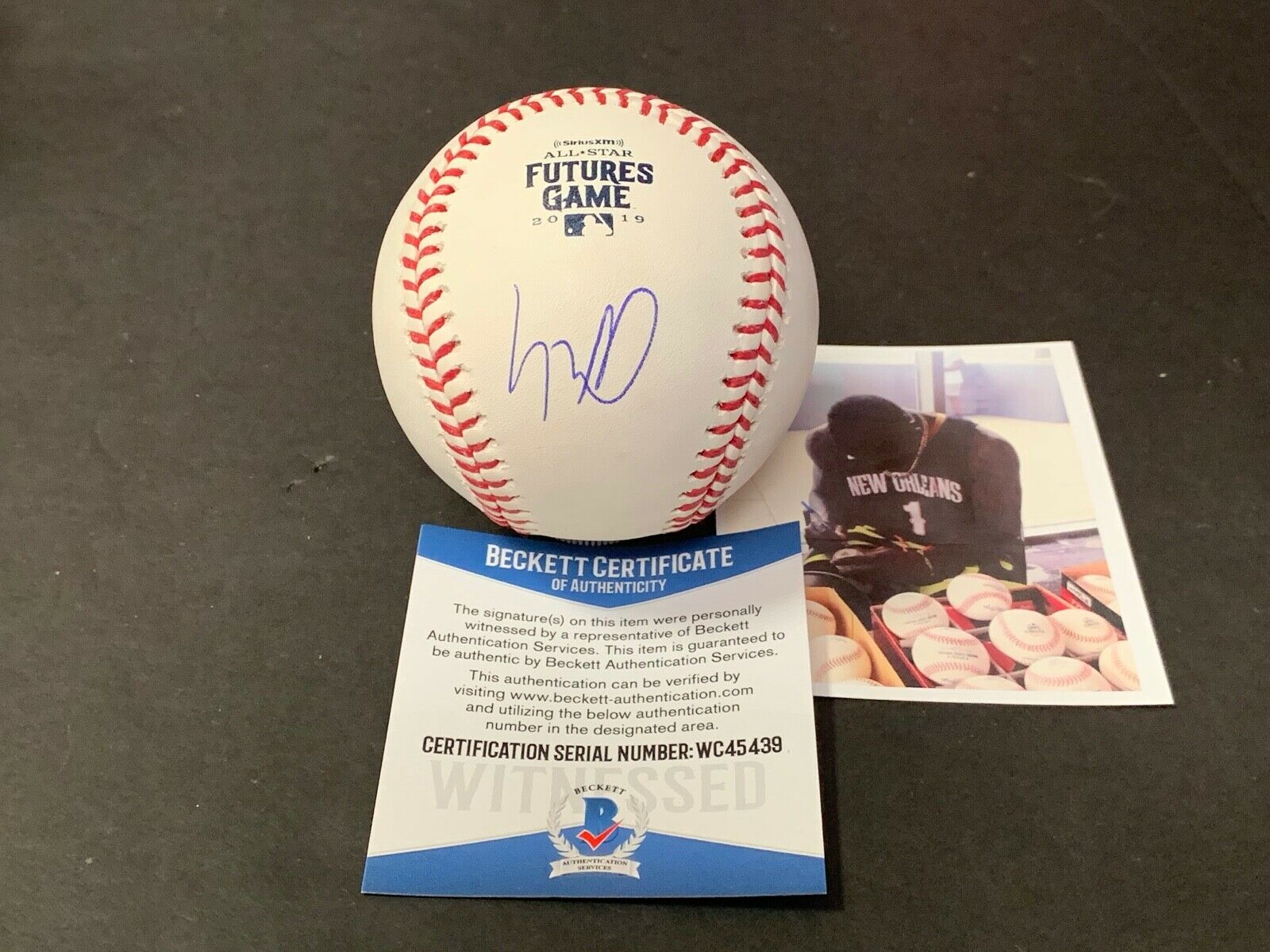 Luis Robert White Sox Signed 2019 Futures Game Baseball BECKETT Witness COA .