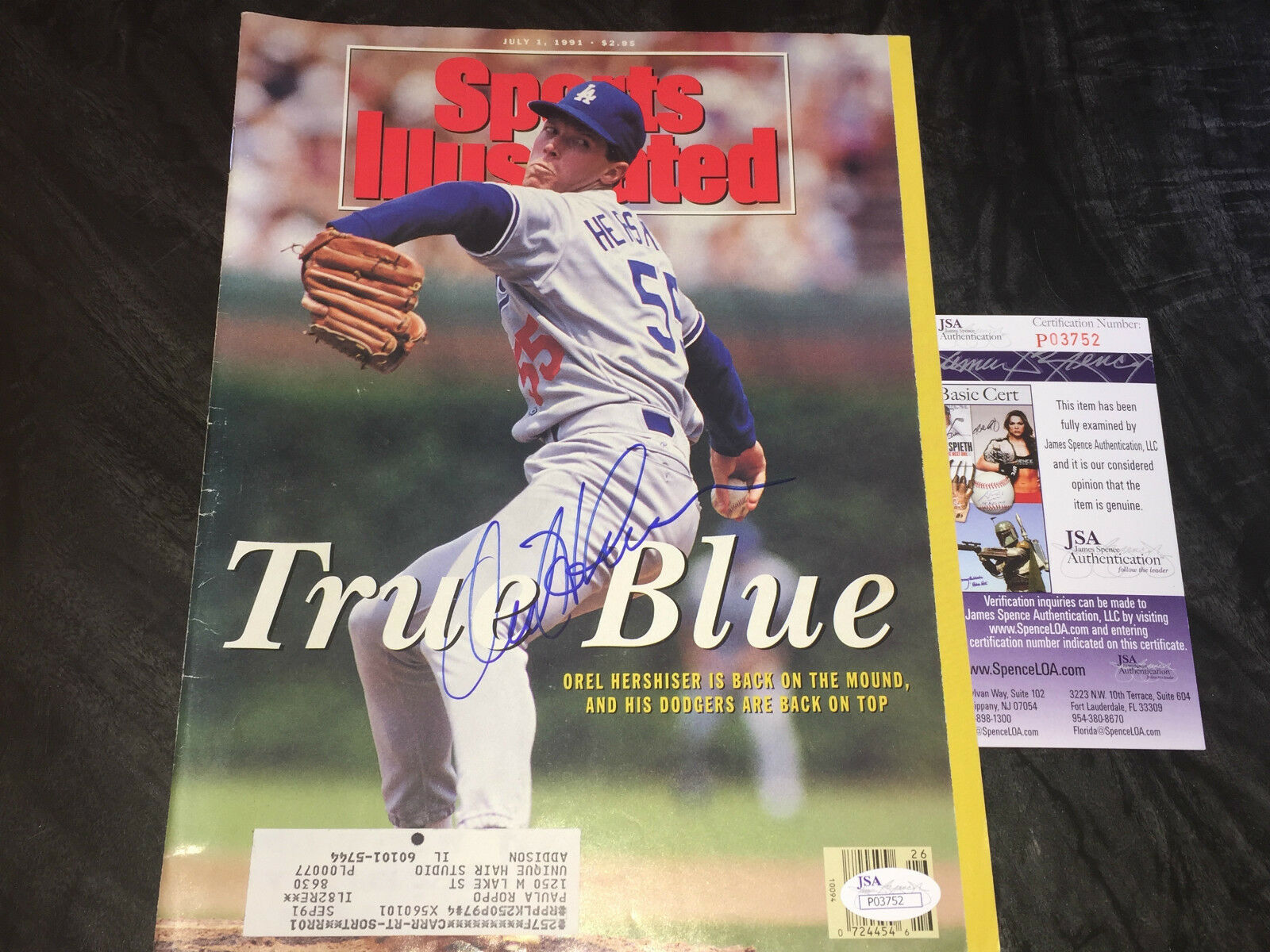 Orel Hershiser Los Angeles Dodgers Autographed Signed Sports Illustrated JSA COA