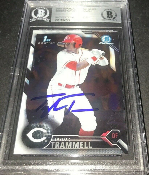 Taylor Trammell Padres SIGNED 2016 BOWMAN DRAFT CHROME BECKETT CERTIFIED o