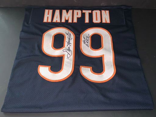 Dan Hampton Chicago Bears Autographed Signed Jersey SWATCH 16x20 HOF 2002 .