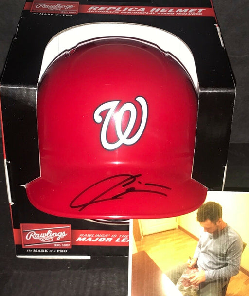 Carter Kieboom Washington Nationals Autographed Signed Mini Helmet w/picture 1