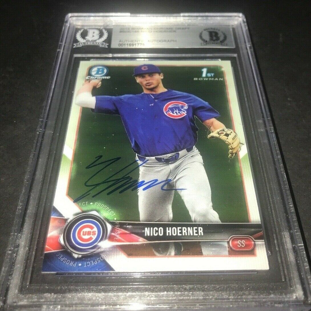 Nico Hoerner Chicago Cubs Bowman SIGNED 2018 BOWMAN CHROME BECKETT CERTIFIED 10