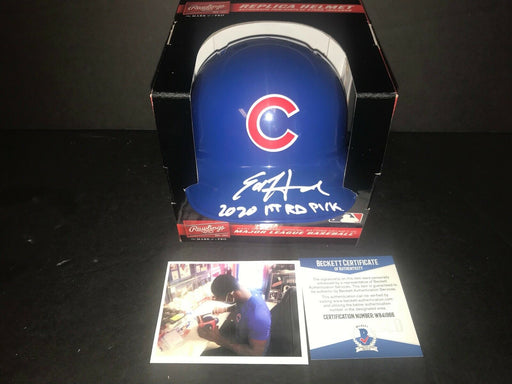 Ed Howard Chicago Cubs Signed Mini Helmet Beckett WITNESS COA 2020 1st Rd Pick .