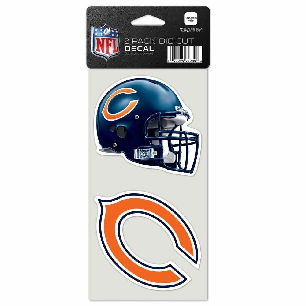 "Chicago Bears 4""X4"" DIE CUT DECAL 2-PACK CAR HOME Free Shipping"