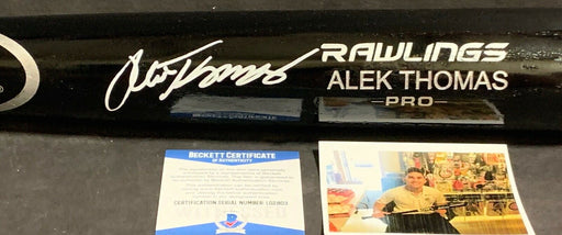 Alek Thomas Arizona Diamondbacks Signed Engraved Bat Beckett Witness COA Black