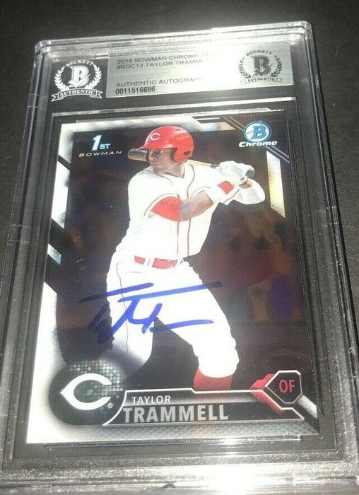 Taylor Trammell Padres SIGNED 2016 BOWMAN DRAFT CHROME BECKETT CERTIFIED f
