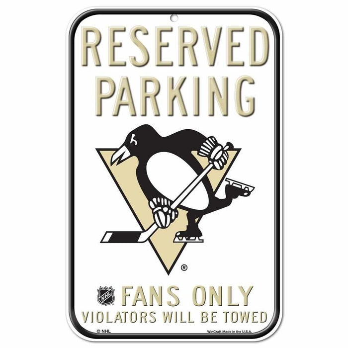 "Pittsburgh Penguins 11""x17"" Reserved Parking Plastic Sign NHL"