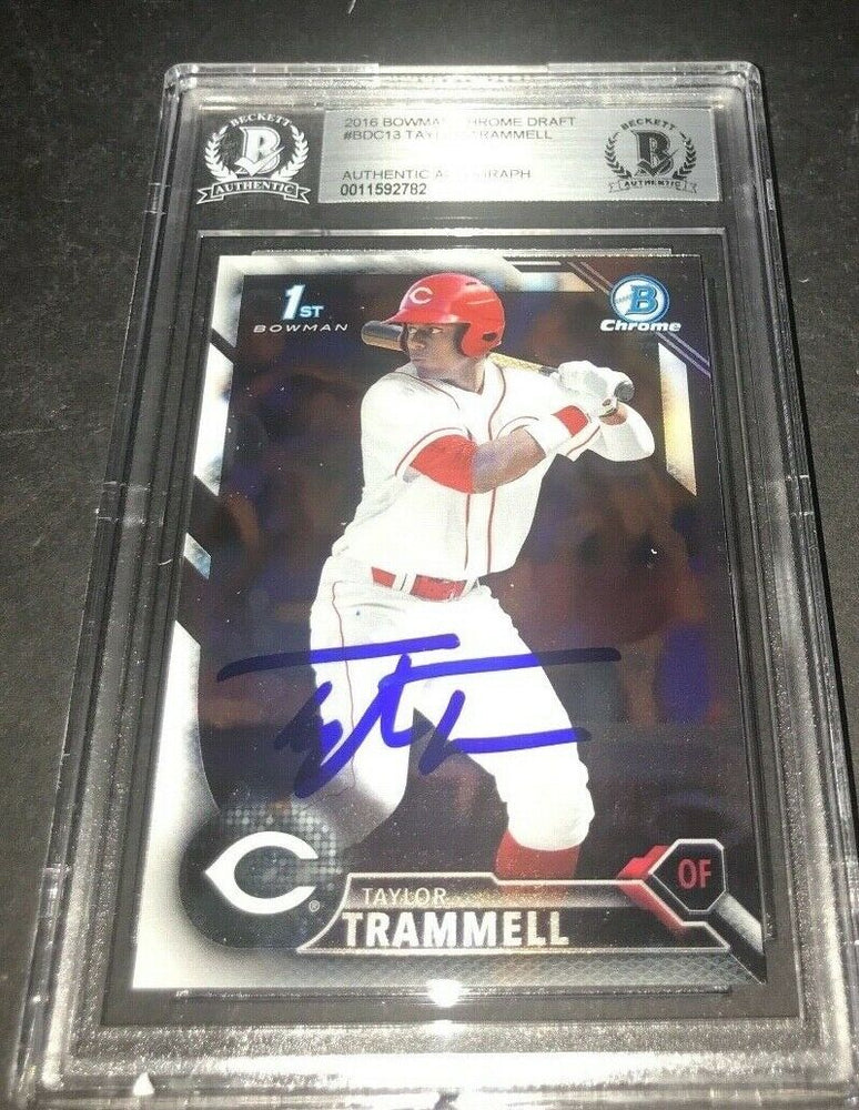 Taylor Trammell Padres SIGNED 2016 BOWMAN DRAFT CHROME BECKETT CERTIFIED k