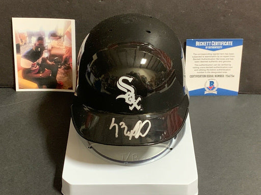 Luis Robert White Sox Autographed Signed Mini Helmet Beckett COA Full Sig