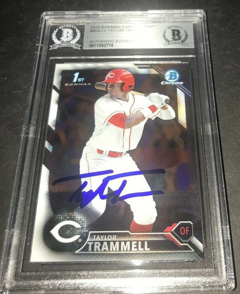 Taylor Trammell Padres SIGNED 2016 BOWMAN DRAFT CHROME BECKETT CERTIFIED i