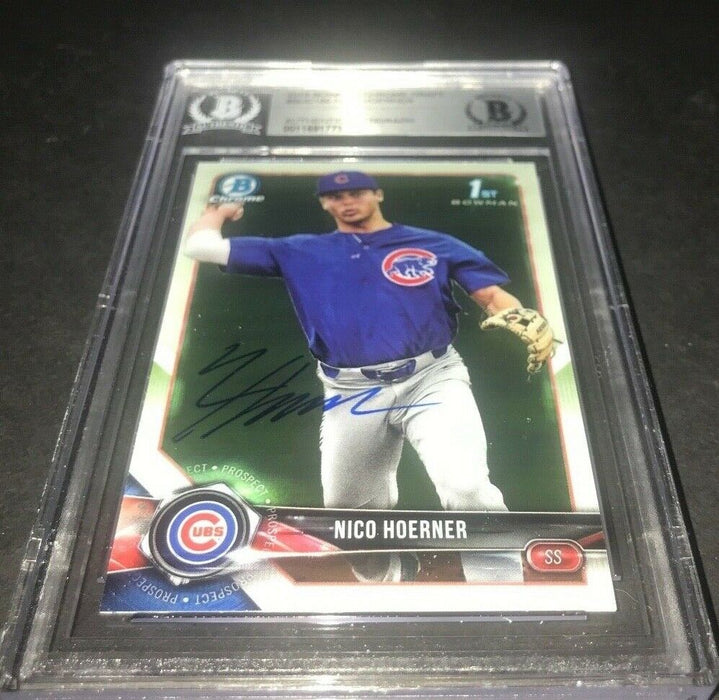 Nico Hoerner Chicago Cubs Bowman SIGNED 2018 BOWMAN CHROME BECKETT CERTIFIED 7