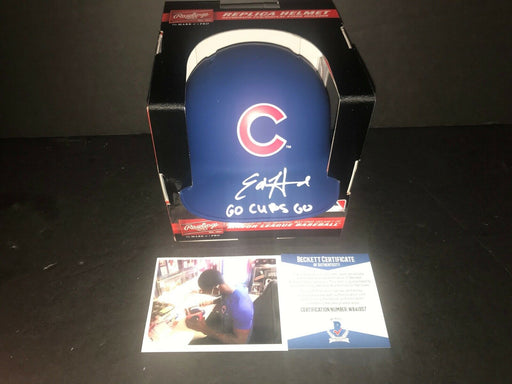 Ed Howard Chicago Cubs Signed Matte Mini Helmet Beckett WITNESS COA GO CUBS GO .