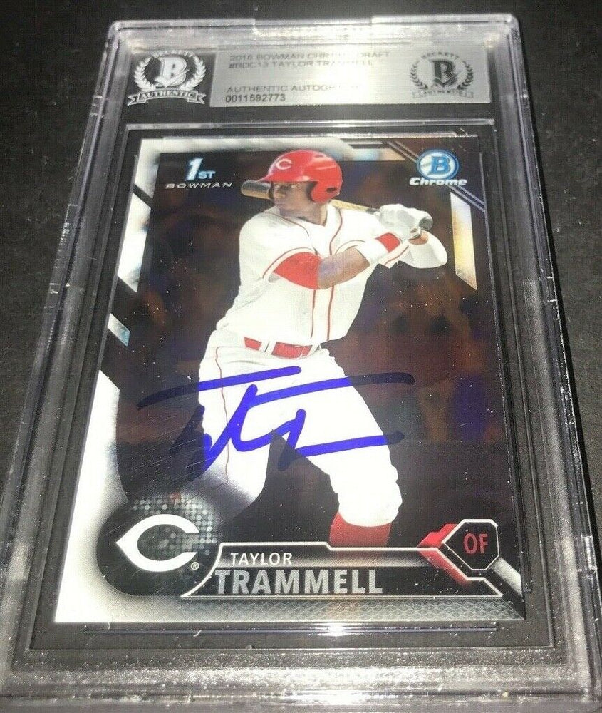 Taylor Trammell Padres SIGNED 2016 BOWMAN DRAFT CHROME BECKETT CERTIFIED v