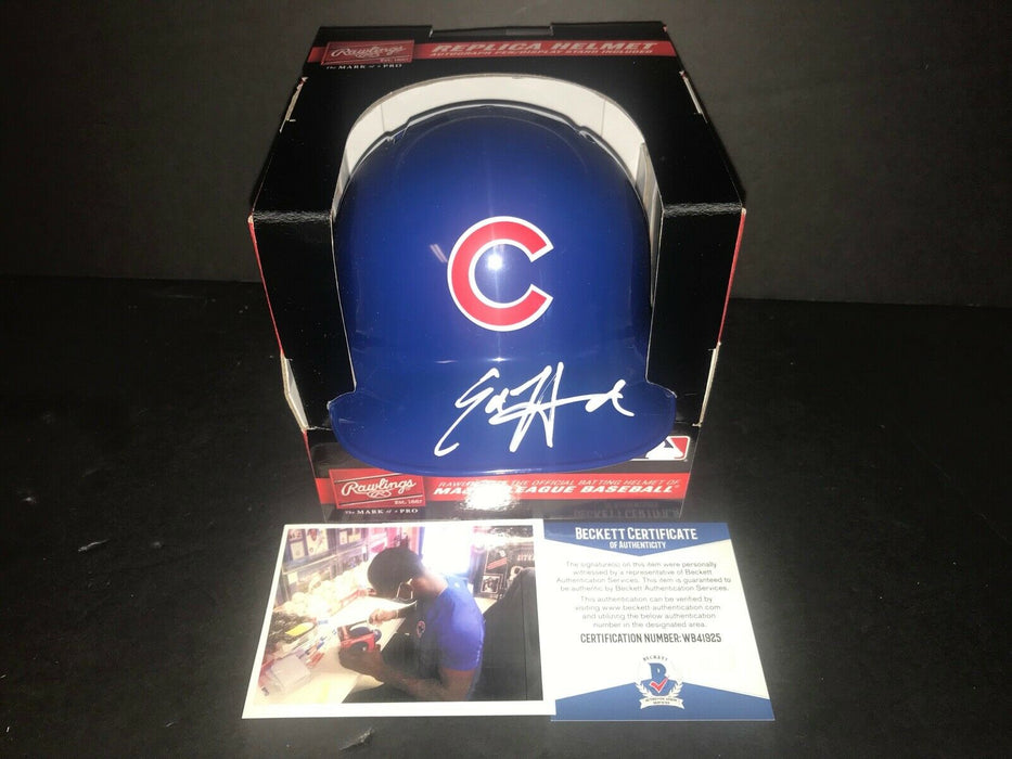 Ed Howard Chicago Cubs Autographed Signed Mini Helmet Beckett WITNESS COA 1