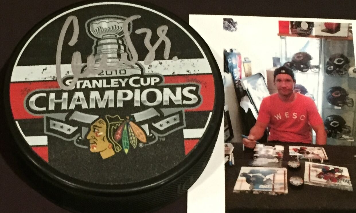 Cristobal Huet Chicago Blackhawks Signed 2010 Stanley Cup Champs Puck