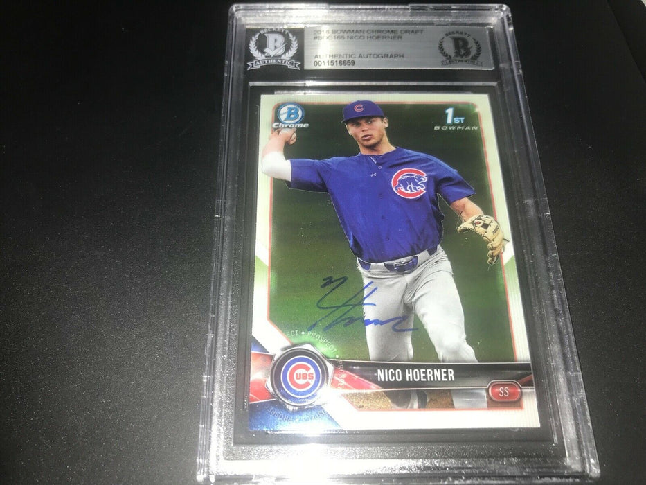 Nico Hoerner Chicago Cubs Bowman SIGNED 2018 BOWMAN CHROME BECKETT CERTIFIED C
