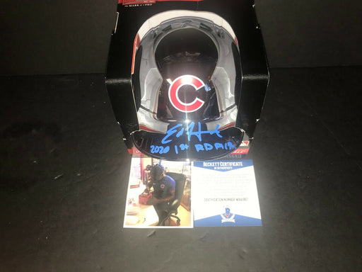 Ed Howard Cubs Signed CHROME Mini Helmet Beckett WITNESS COA 2020 1st Rd Pick .