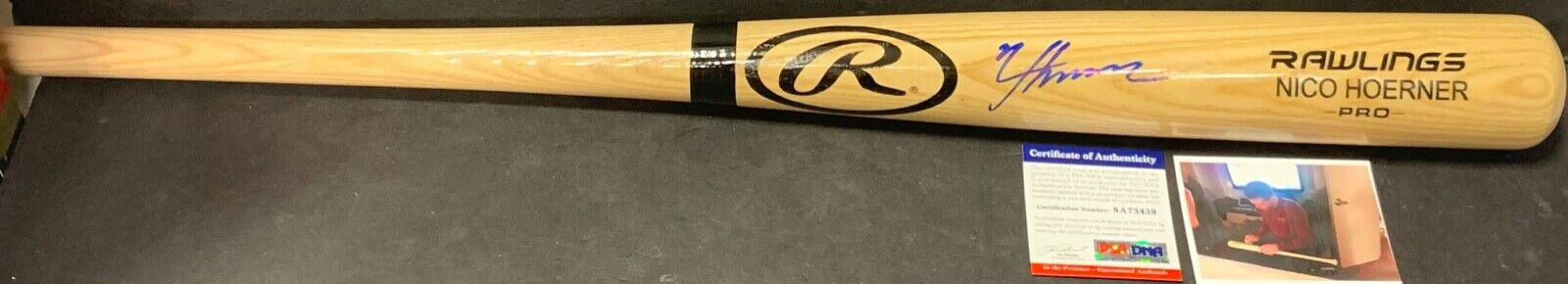 Nico Hoerner Chicago Cubs Autographed Signed Bat Blonde PSA WITNESS COA 1