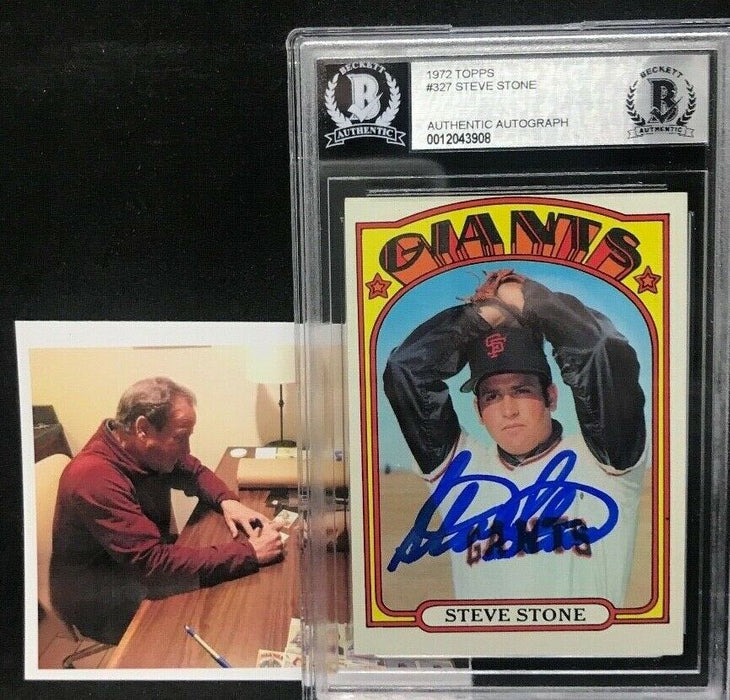 Steve Stone Giants White Sox Autographed Signed 1972 Topps Card Beckett Cert 5
