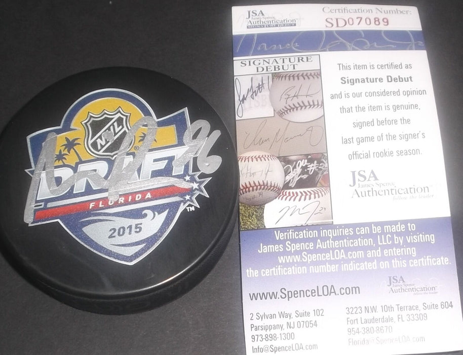 Noah Hanifin Carolina Panthers Signed 2015 Draft Puck JSA SIGNATURE DEBUT COA