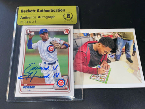 Ed Howard Cubs Auto SIGNED 2020 BOWMAN BASE BECKETT AUTHENTICATED Full Name ~