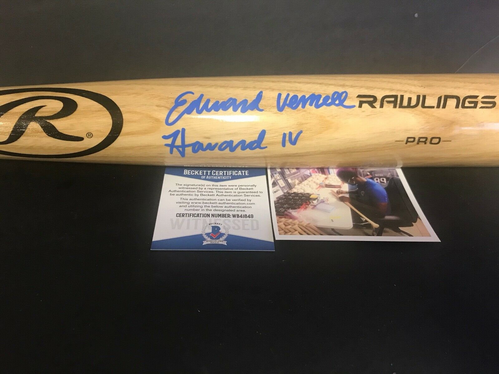 Ed Howard Chicago Cubs FULL NAME Signed Bat Beckett Witness COA Blonde