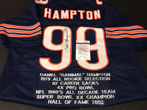 Dan Hampton Autographed Signed Blue Jersey 7 Embroidered Stats Very Unique