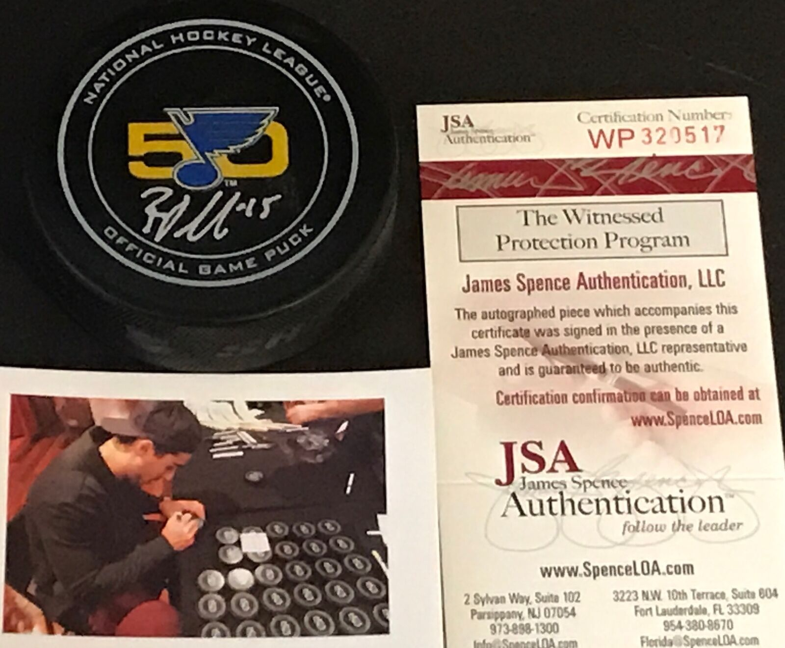 Robby Fabbri St Louis Blues Autographed Signed Official Game Puck JSA WITNESS