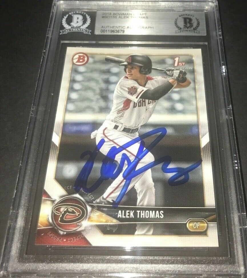 Alek Thomas Diamondbacks SIGNED 2018 BOWMAN BASE DRAFT BECKETT CERTIFIED i