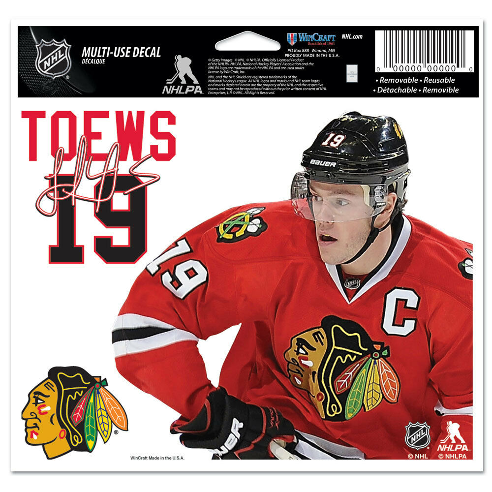 "Jonathan Toews Chicago Blackhawks Auto Car Home Window 5""x6"" Color Ultra Decal"