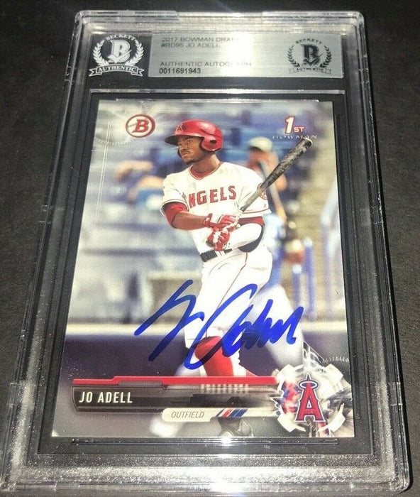Jo Adell Los Angeles Angels SIGNED 2017 BOWMAN BASE BECKETT CERTIFIED 20