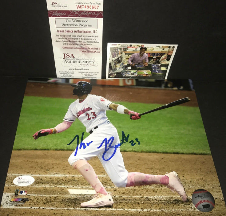 Keon Broxton Milwaukee Brewers Autographed Signed 8x10 JSA WITNESS COA Pink 1