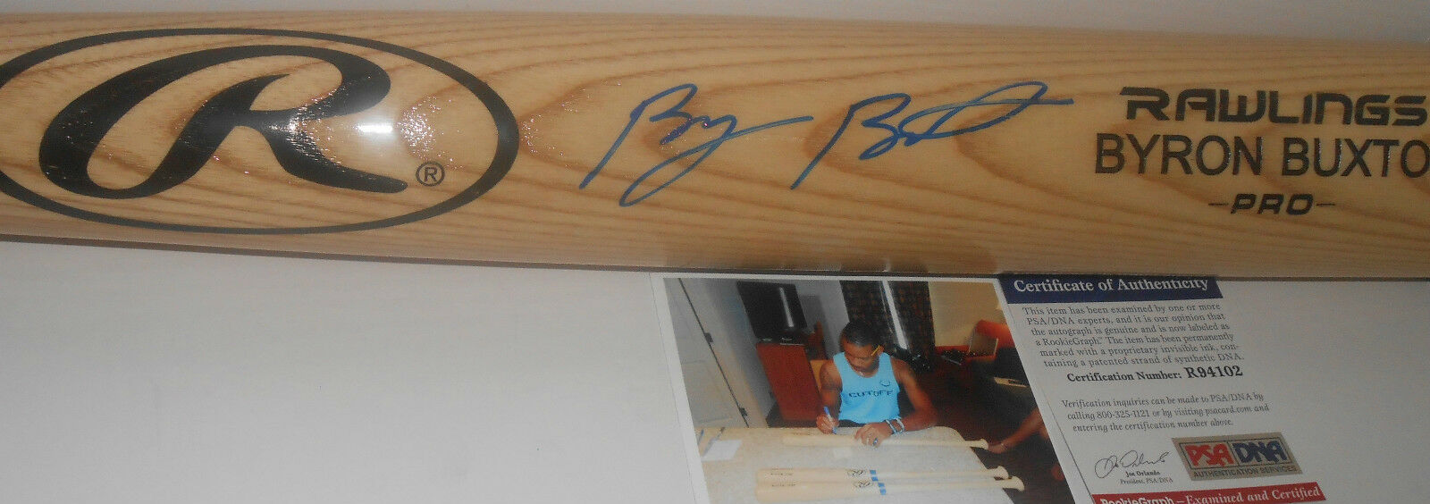 Byron Buxton Minnesota Twins PSA DNA ROOKIE COA Signed Baseball Bat Blonde Z