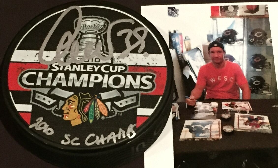Cristobal Huet Chicago Blackhawks Signed 2010 Stanley Cup Champs Puck Inscribed