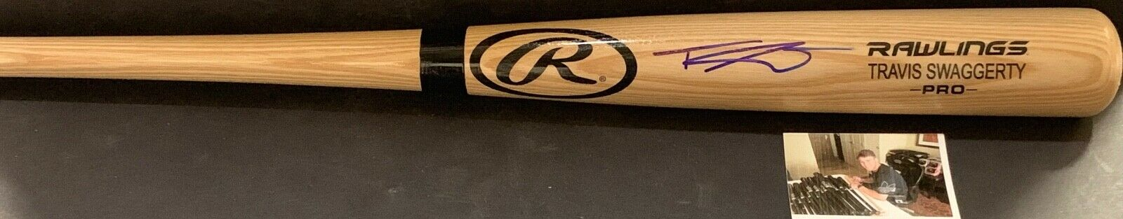 Travis Swaggerty Pittsburgh Pirates Autographed Signed Engraved Bat Blonde A