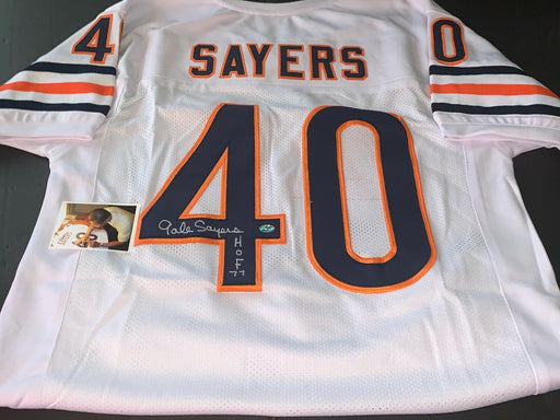 Gale Sayers Chicago Bears Autographed Signed Jersey White HOF 77
