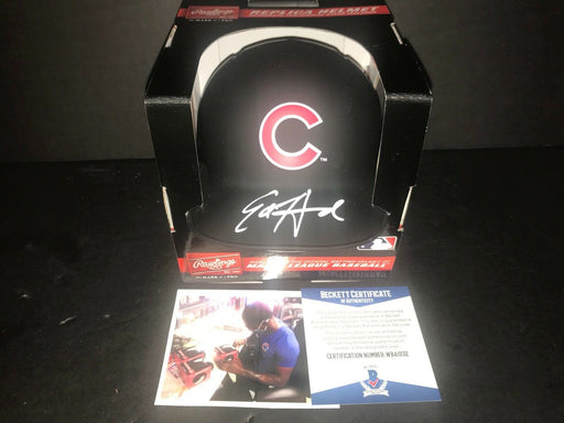 Ed Howard Chicago Cubs Signed BLACK MATTE Mini Helmet Beckett WITNESS COA .