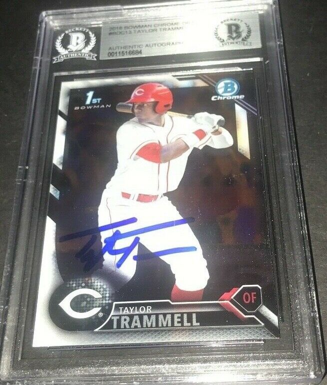 Taylor Trammell Padres SIGNED 2016 BOWMAN DRAFT CHROME BECKETT CERTIFIED d