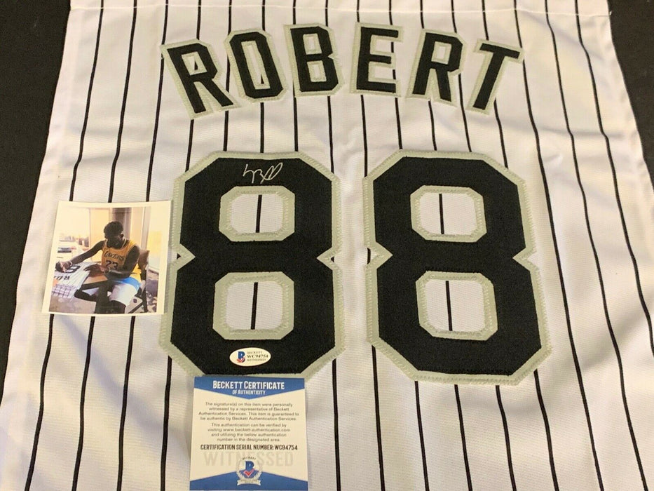 Luis Robert Chicago White Sox Autographed Signed Jersey SWATCH 16x20 .