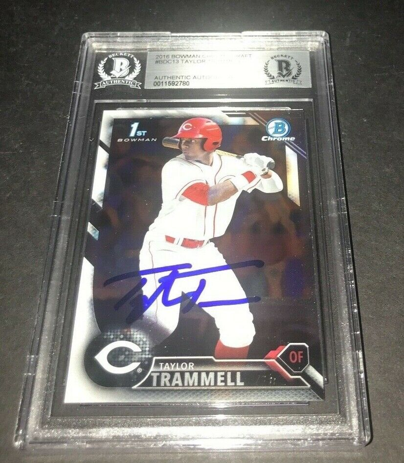 Taylor Trammell Padres SIGNED 2016 BOWMAN DRAFT CHROME BECKETT CERTIFIED m