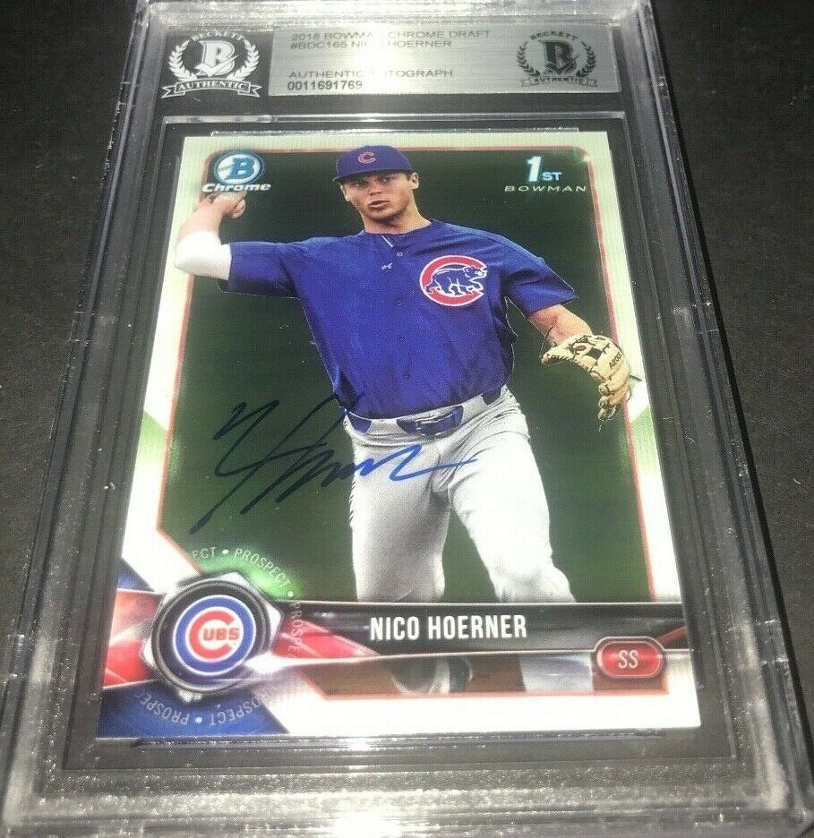 Nico Hoerner Chicago Cubs Bowman SIGNED 2018 BOWMAN CHROME BECKETT CERTIFIED 23