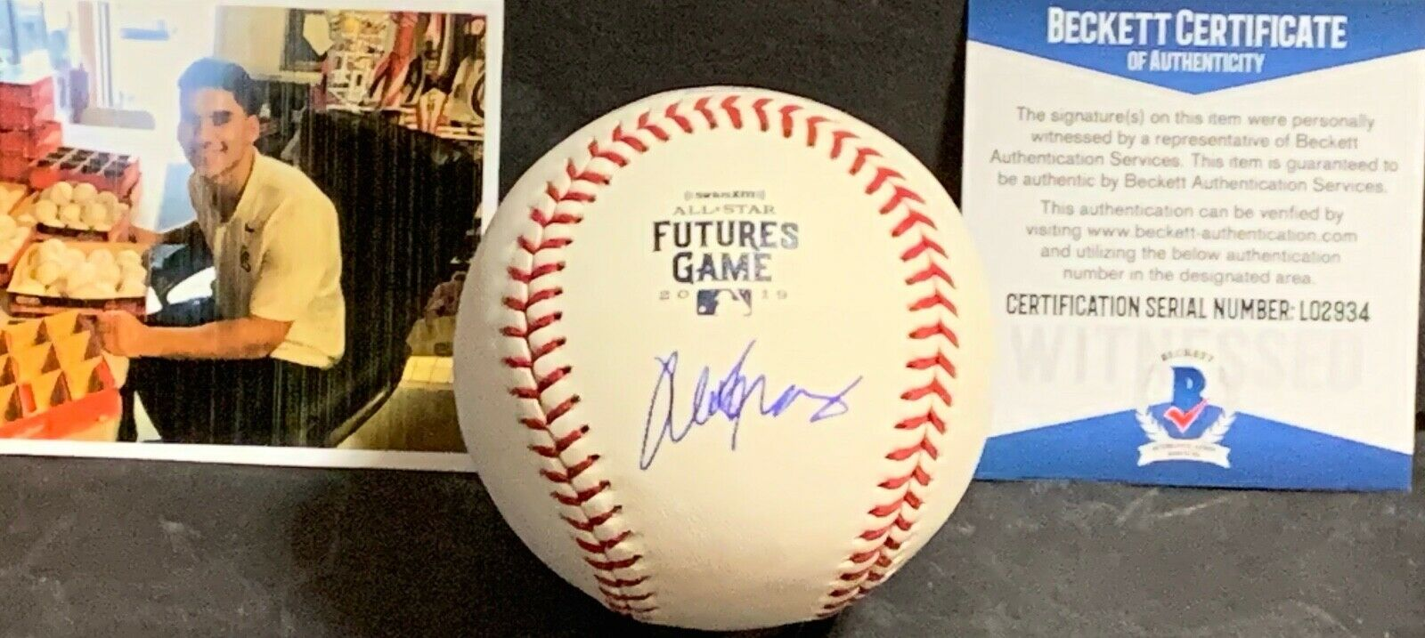 Alek Thomas Diamondbacks Signed 2019 Futures Game Baseball BECKETT Witness COA 1