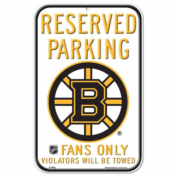 "Boston Bruins 11""x17"" Reserved Parking Plastic Sign NHL"
