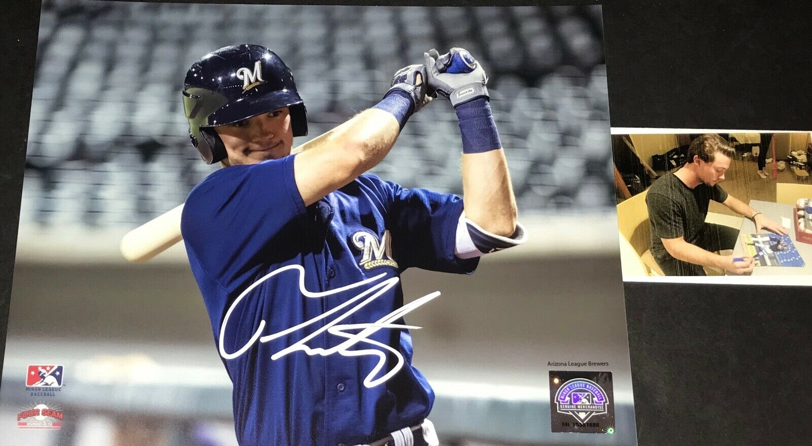 Tristen Lutz Milwaukee Brewers Autographed Signed 8x10 Photo B