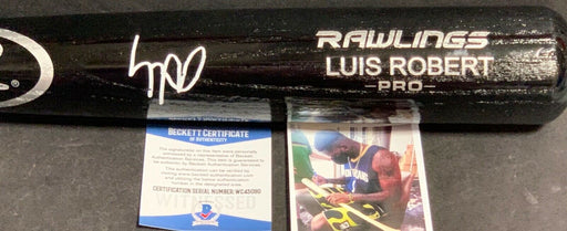 Luis Robert Chicago White Sox Signed Engraved Black Bat BECKETT WITNESS COA 1